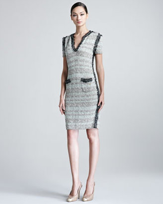 Escada Selia Short-Sleeve Knitted Tweed Dress