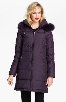 Ellen Tracy Genuine Fox Fur Trim Down Coat (Nordstrom Exclusive)