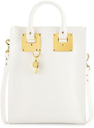 Sophie Hulme Mini Buckled Leather Tote Bag, White