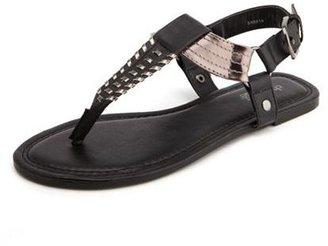 Charlotte Russe Woven Metallic T-Strap Sandal