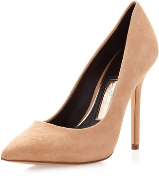 Boutique 9 Justine Suede Pointy-Toe Pump, Natural