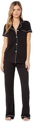 Cosabella Bella S/S Top Pant Pajama Set (Black/Ivory) Women's Pajama Sets
