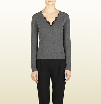Gucci Cashmere V-Neck Sweater With Lace Detail