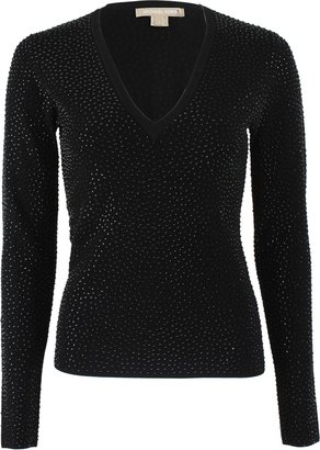 Michael Kors V-Neck Sweater with Stone