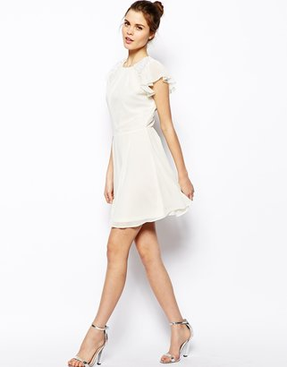 Asos Embellished Dress With Angel Sleeve