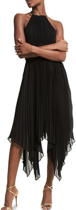 MICHAEL Michael Kors Halter Chain Pleated Georgette Dress