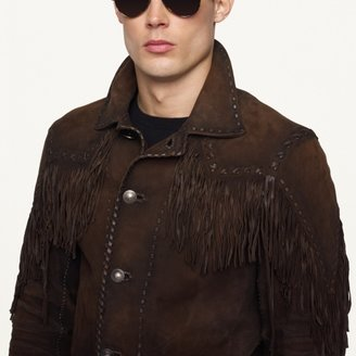 Ralph Lauren Black Label Denim Suede-Fringe Jacket