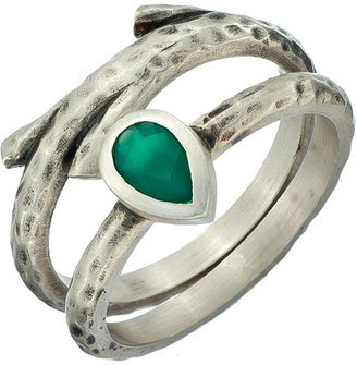 Satya Jewelry Set Of Two Silver And Green Onyxl Stacking Rings