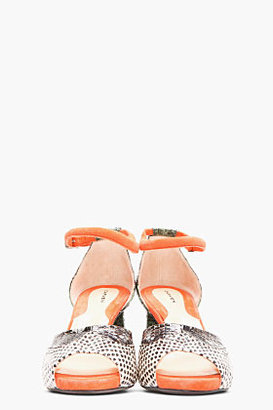 Carven Coral & Green Snakeskin Peep Toe Pumps