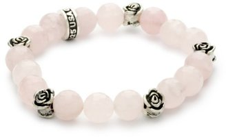 King Baby 10mm Rose Quartz Bead Bracelet with Roses $260 thestylecure.com