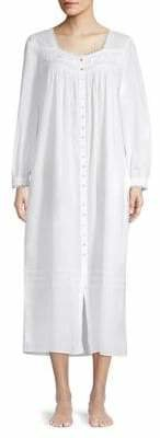 Eileen West Long-Sleeve Lace-Trimmed Cotton Nightgown