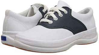 Keds Kids School Days II (Little Kid/Big Kid) (White/Navy Leather) Girls Shoes