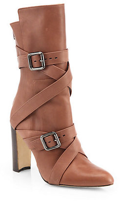 Manolo Blahnik Strappy Leather Mid-Calf Boots