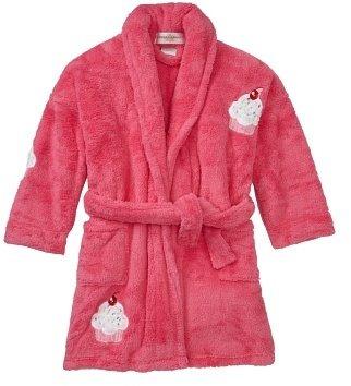 Aegean Apparel Sprinkles Cupcake Appliqued Plush Microterry Girl's Bathrobe, 100% Polyester, Fuchsia
