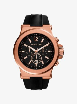 Michael Kors Oversized Dylan Rose Gold-Tone and Silicone Watch