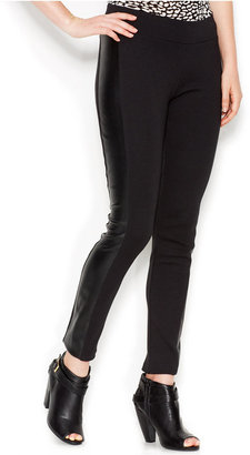 kensie Faux-Leather Panel Ponte Leggings $59 thestylecure.com