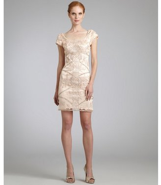 Sue Wong blush sequined scoop neck cap sleeve dress