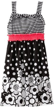 Rare Editions Girls Plus-Size 7-16 Striped Floral Woven Dress