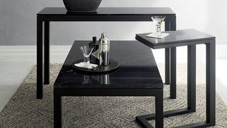 Crate & Barrel Parsons C Table with Grey Glass Top