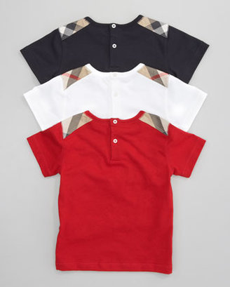 Burberry Check-Shoulder Tee, Military Red