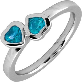 Simply Stacks Sterling & Blue Topaz Double-Heart Ring