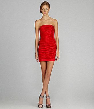 Jessica McClintock Ruched Taffeta Dress