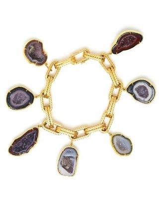 Kimberly MCDONALD Yellow Gold and Geode Charm Bracelet