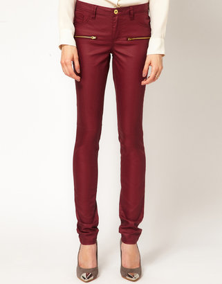 Vila Coated Zip Pocket Jeans