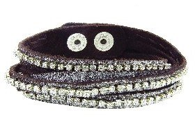 Presh Brown Shimmer Double Wrap Bracelet - Clear Crystal