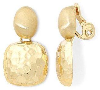 Monet Gold-Tone Textured Double-Drop Clip Earrings