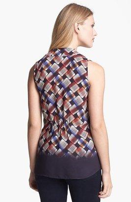 Nic+Zoe Plaid Print V-Neck Blouse