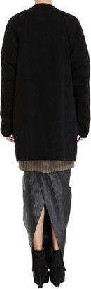 Rick Owens Women's Collarless Quarter Coat-Black