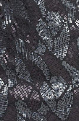 Adrianna Papell Sequin Pattern Illusion Cutout Jersey Dress