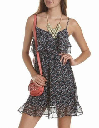 Charlotte Russe Ruffled Floral A-Line Dress