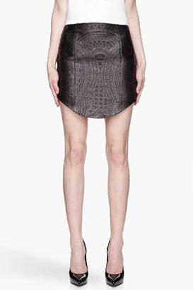Balmain Washed black jacquard patterned skirt