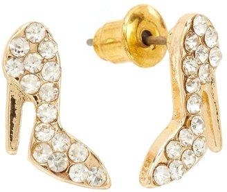 Lauren Conrad gold tone simulated crystal high heel shoe stud earrings