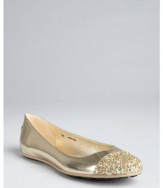 Jimmy Choo gold metallic leather and glittered cap toe 'Whirl' flats