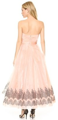 Monique Lhuillier Strapless Gown with Ruched Bodice