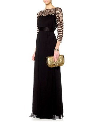 Temperley London Black Silk Embroidery Gown