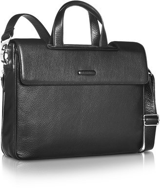 Piquadro Modus - Expandable Black Calfskin Two-Handle Briefcase
