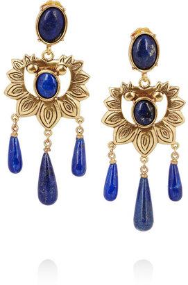 Oscar de la Renta Gold-plated lapis lazuli earrings