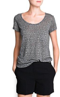 MANGO Outlet Cotton-Blend Devoré T-Shirt