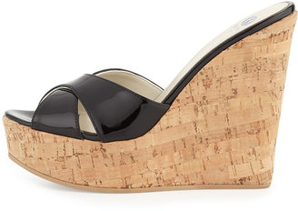 Dee Keller Frankie Criss-Cross Leather Cork Wedge, Black