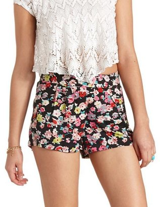 Charlotte Russe Pleated Floral Print High-Waisted Shorts