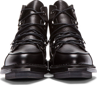 McQ Black Leather Lace-Up Lipp Boots