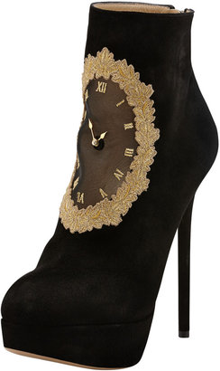Charlotte Olympia On Time Clock Face Suede Ankle Boot