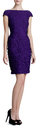 Theia Cap-Sleeve Petal Cocktail Dress
