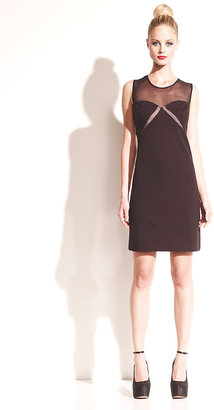 Betsey Johnson Sheath Dress With Sheer Neck