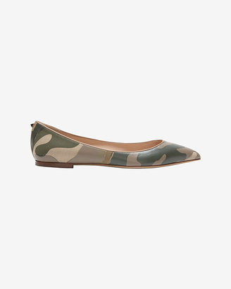 Valentino Canvas/Leather Camo Print Ballet Flat
