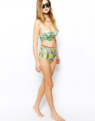 South Beach Super Nature Fearne Bird Of Paradise Print Bustier Bikini Top With Contrast Strap